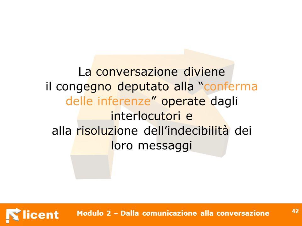 licent Modulo 2 – Dalla comunicazione alla conversazione 42 La conversazione diviene il congegno deputato alla conferma delle inferenze operate dagli