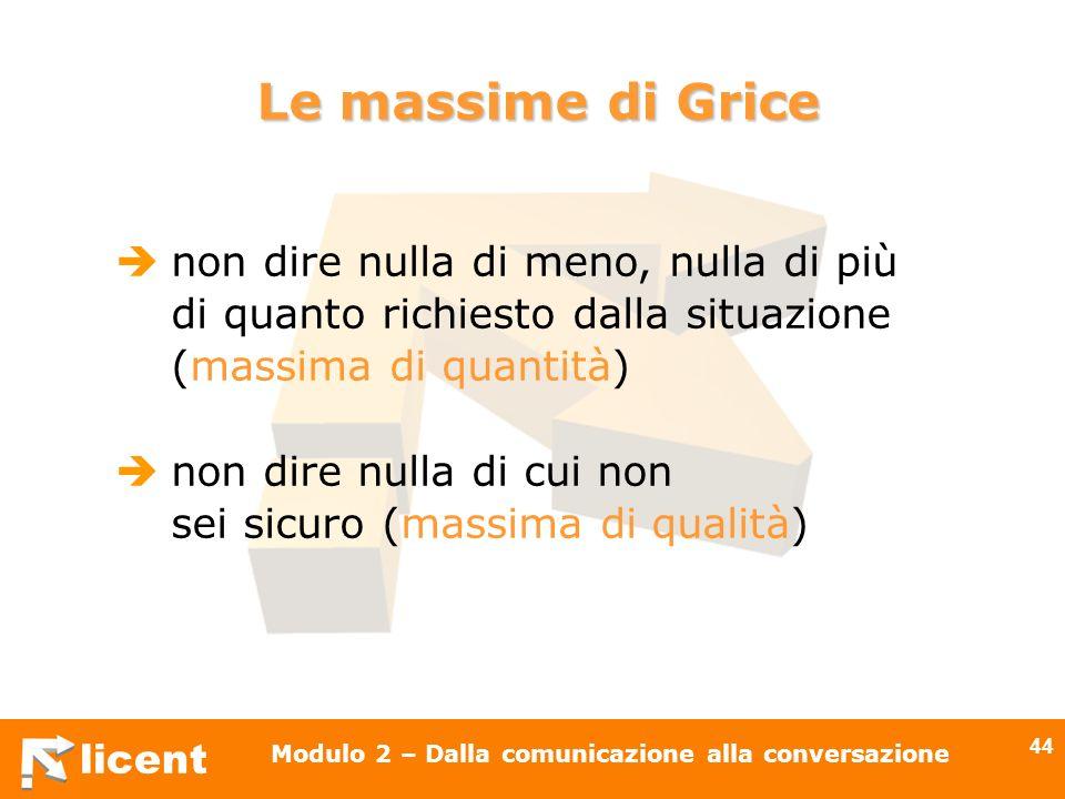 licent Modulo 2 – Dalla comunicazione alla conversazione 44 Le massime di Grice non dire nulla di meno, nulla di più di quanto richiesto dalla situazi