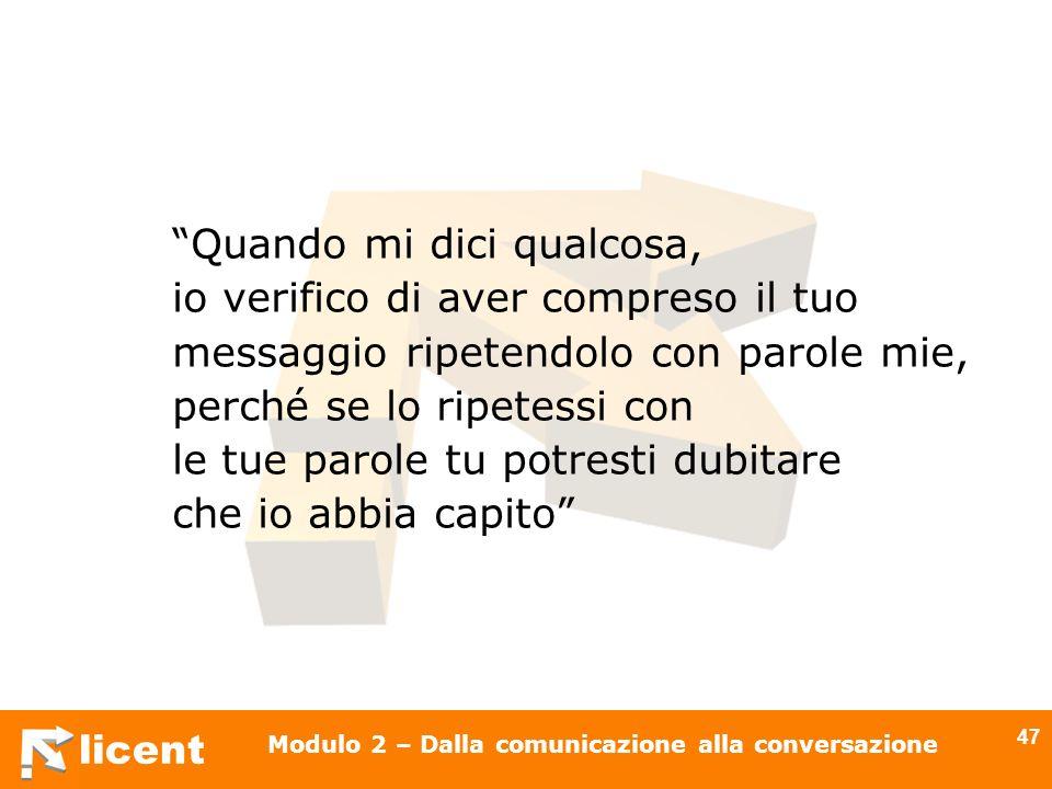licent Modulo 2 – Dalla comunicazione alla conversazione 47 Quando mi dici qualcosa, io verifico di aver compreso il tuo messaggio ripetendolo con par
