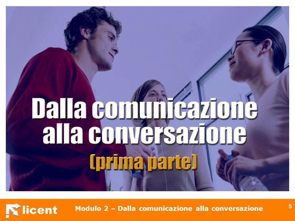 licent Modulo 2 – Dalla comunicazione alla conversazione 6 Argomenti della lezione La comunicazione Il modello di Shannon e Weaver Interazionismo sommario Interazionismo comunicativo