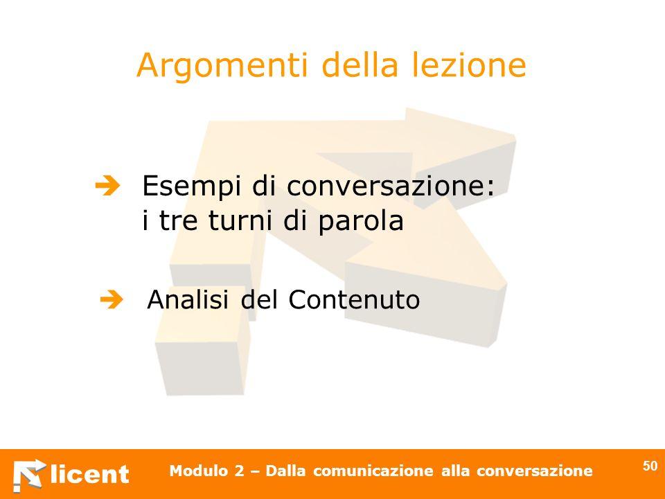 licent Modulo 2 – Dalla comunicazione alla conversazione 50 Argomenti della lezione Esempi di conversazione: i tre turni di parola Analisi del Contenu