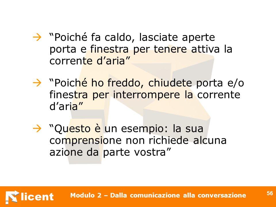 licent Modulo 2 – Dalla comunicazione alla conversazione 56 Poiché ho freddo, chiudete porta e/o finestra per interrompere la corrente daria Questo è