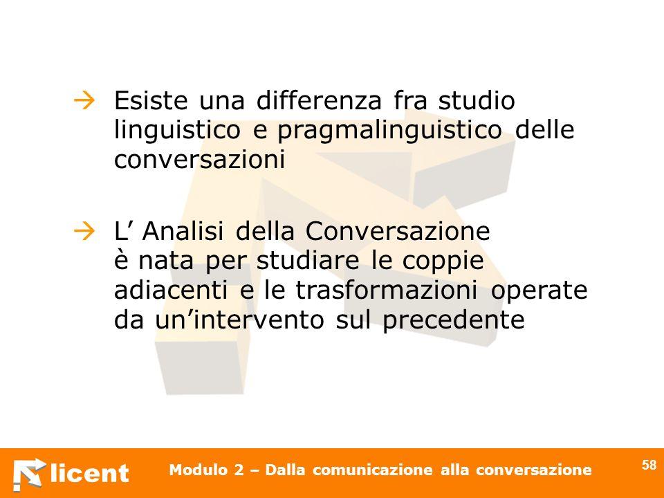 licent Modulo 2 – Dalla comunicazione alla conversazione 58 Esiste una differenza fra studio linguistico e pragmalinguistico delle conversazioni L Ana