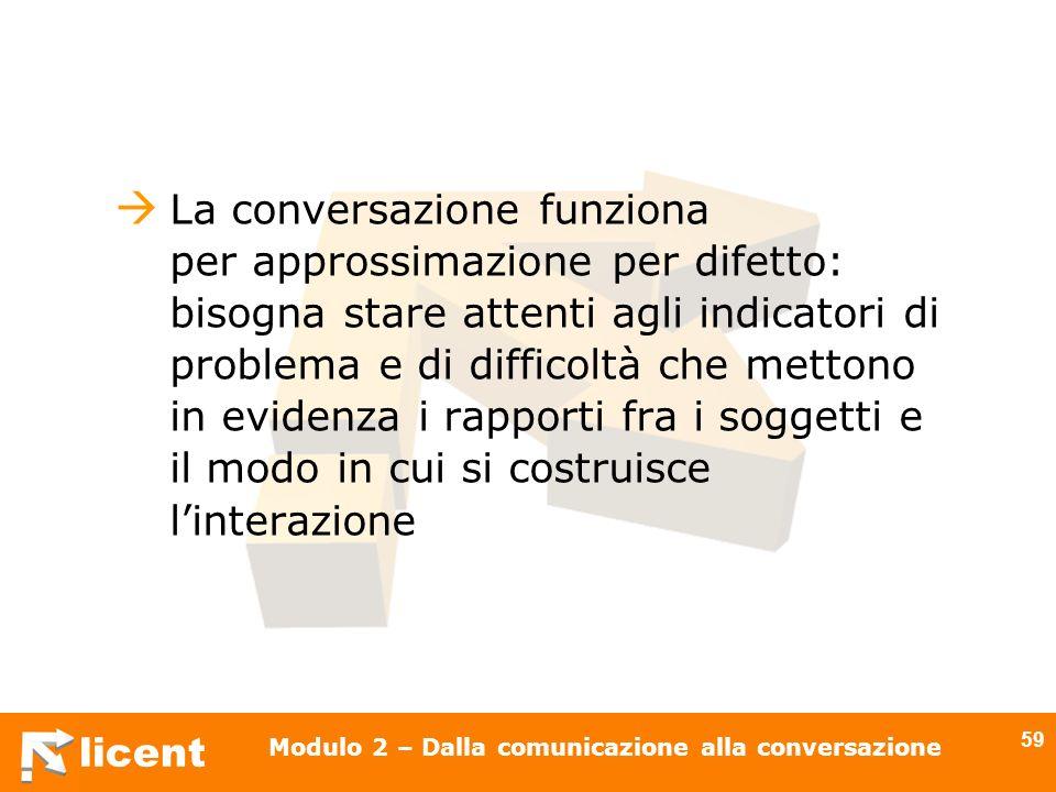 licent Modulo 2 – Dalla comunicazione alla conversazione 59 La conversazione funziona per approssimazione per difetto: bisogna stare attenti agli indi