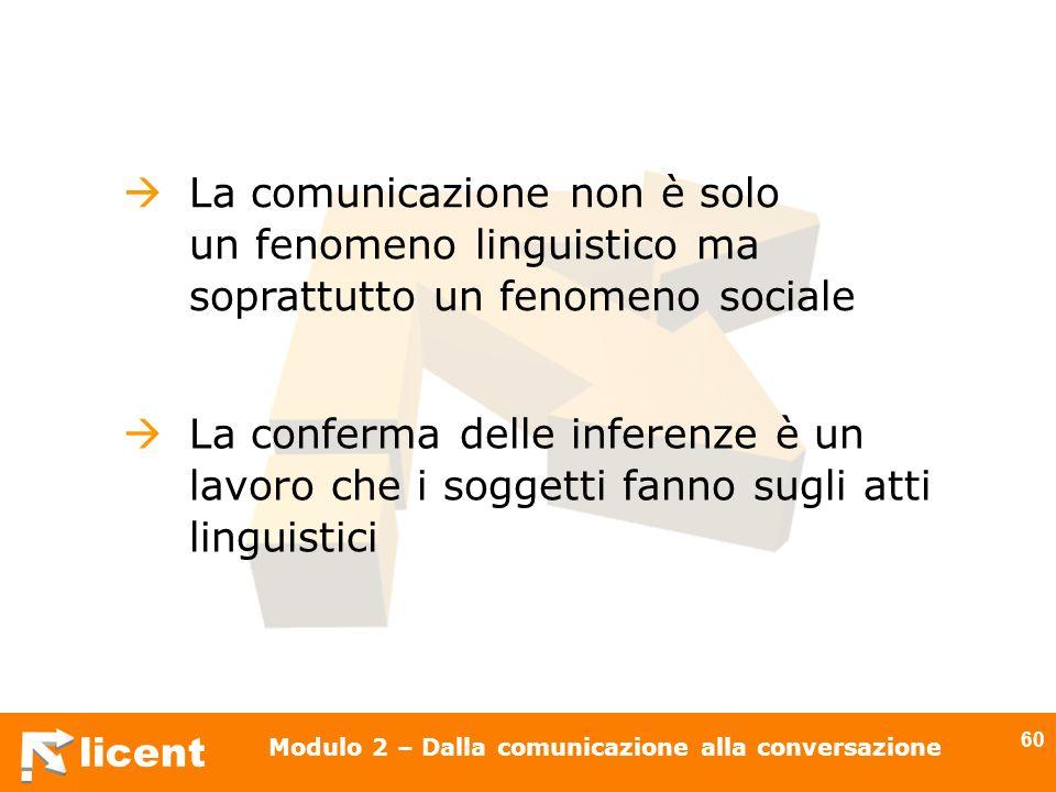 licent Modulo 2 – Dalla comunicazione alla conversazione 60 La comunicazione non è solo un fenomeno linguistico ma soprattutto un fenomeno sociale La