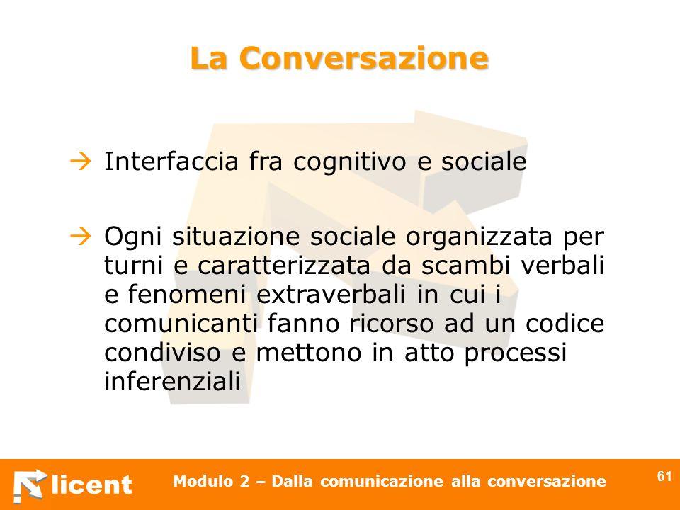 licent Modulo 2 – Dalla comunicazione alla conversazione 61 La Conversazione Interfaccia fra cognitivo e sociale Ogni situazione sociale organizzata p