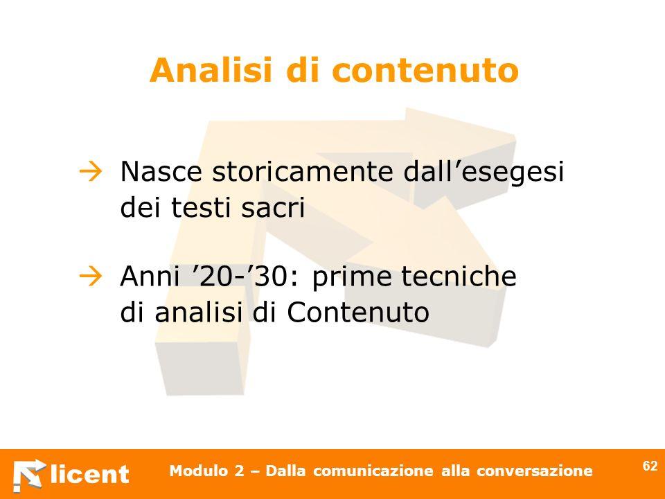 licent Modulo 2 – Dalla comunicazione alla conversazione 62 Nasce storicamente dallesegesi dei testi sacri Analisi di contenuto Anni 20-30: prime tecn