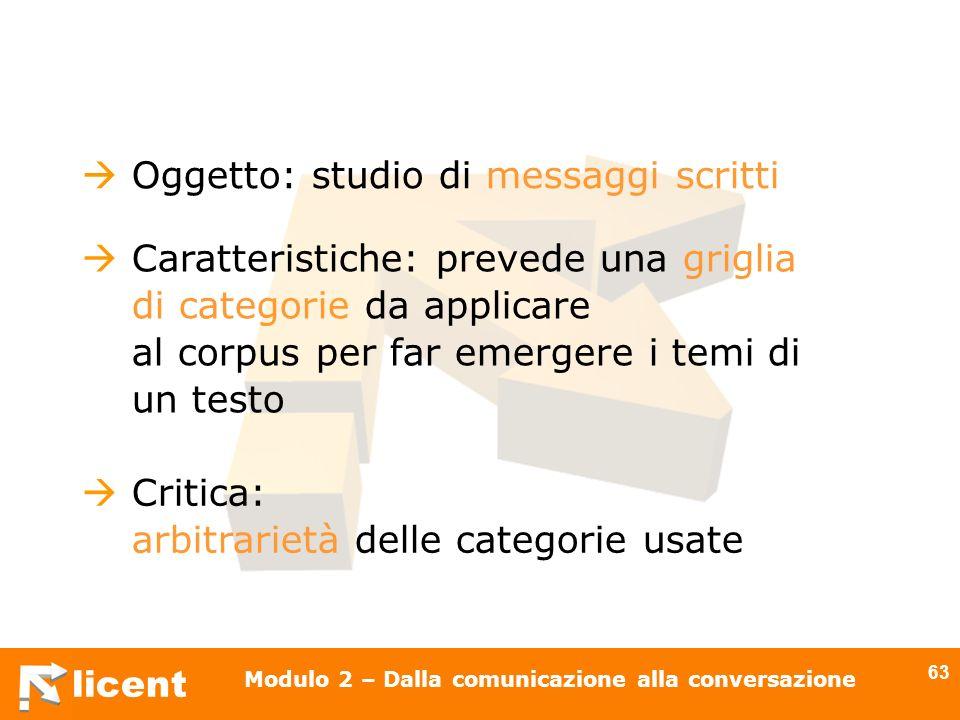 licent Modulo 2 – Dalla comunicazione alla conversazione 63 Oggetto: studio di messaggi scritti Caratteristiche: prevede una griglia di categorie da a