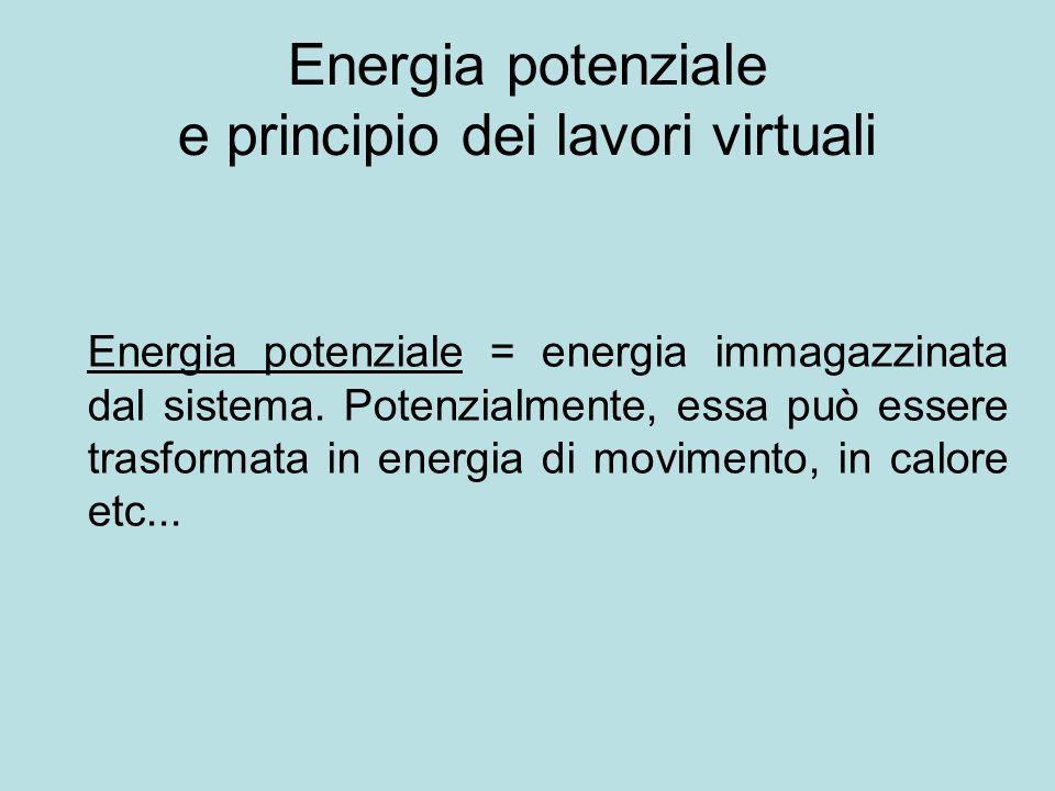 Energia potenziale e principio dei lavori virtuali Energia potenziale = energia immagazzinata dal sistema. Potenzialmente, essa può essere trasformata