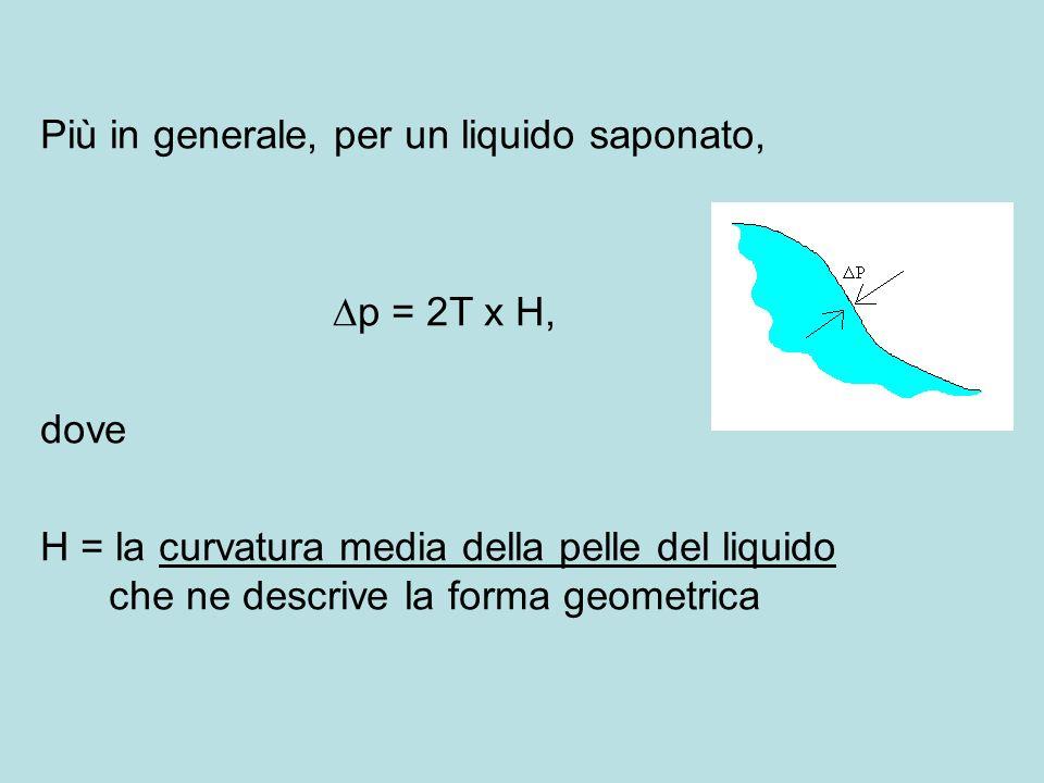 Più in generale, per un liquido saponato, p = 2T x H, dove H = la curvatura media della pelle del liquido che ne descrive la forma geometrica