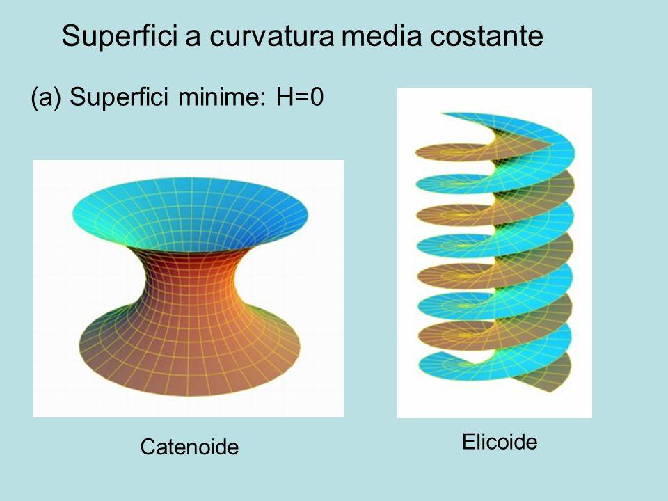 Superfici a curvatura media costante (a) Superfici minime: H=0 Catenoide Elicoide