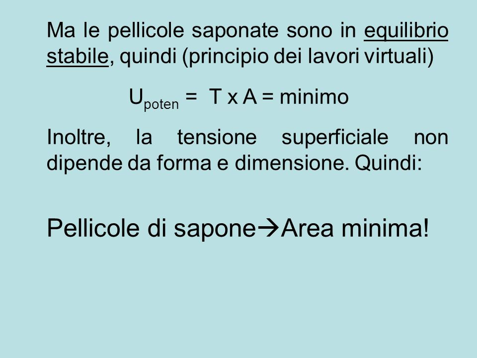 Ma le pellicole saponate sono in equilibrio stabile, quindi (principio dei lavori virtuali) U poten = T x A = minimo Inoltre, la tensione superficiale