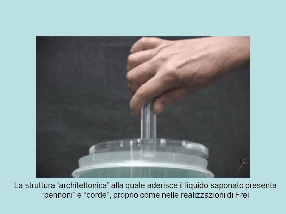 La struttura architettonica alla quale aderisce il liquido saponato presenta pennoni e corde, proprio come nelle realizzazioni di Frei