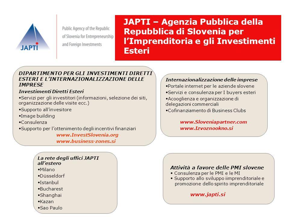 JAPTI – Agenzia Pubblica della Repubblica di Slovenia per lImprenditoria e gli Investimenti Esteri DIPARTIMENTO PER GLI INVESTIMENTI DIRETTI ESTERI E