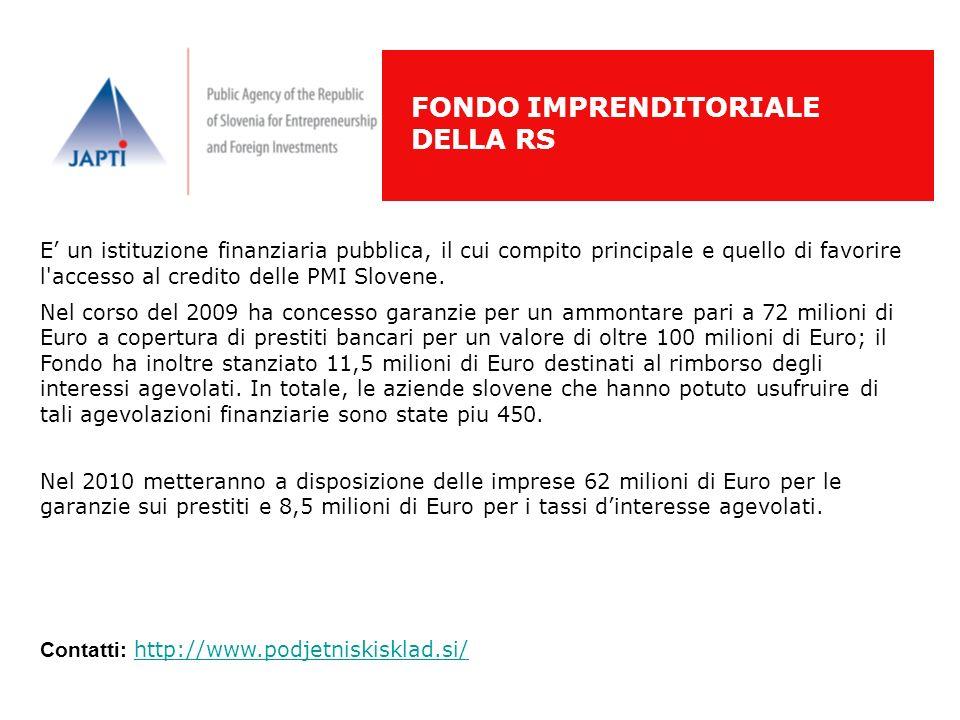 E un istituzione finanziaria pubblica, il cui compito principale e quello di favorire l'accesso al credito delle PMI Slovene. Nel corso del 2009 ha co