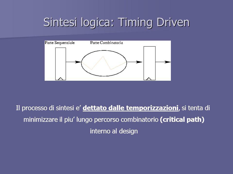 Sintesi logica: Timing Driven Il processo di sintesi e dettato dalle temporizzazioni, si tenta di minimizzare il piu lungo percorso combinatorio (critical path) interno al design