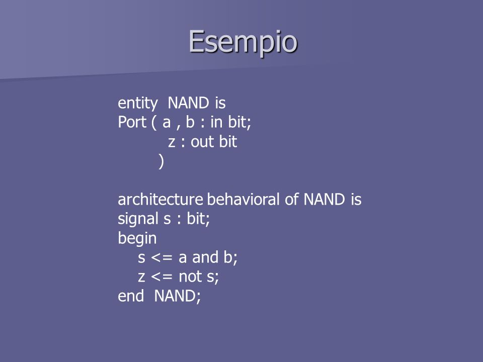 Esempio entity NAND is Port ( a, b : in bit; z : out bit ) architecture behavioral of NAND is signal s : bit; begin s <= a and b; z <= not s; end NAND;