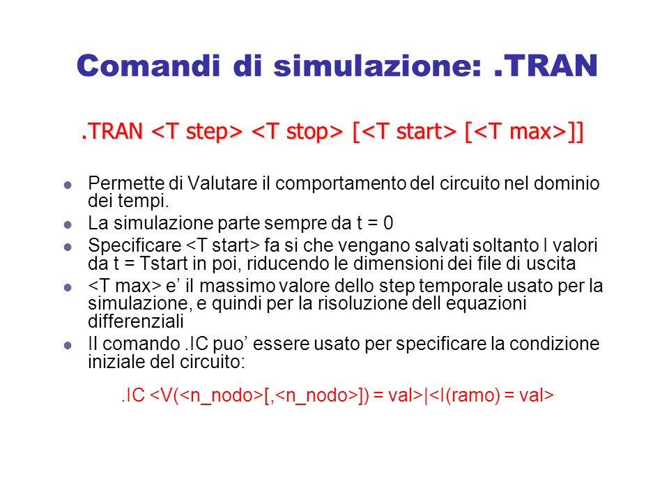 Comandi di simulazione:.TRAN Permette di Valutare il comportamento del circuito nel dominio dei tempi.