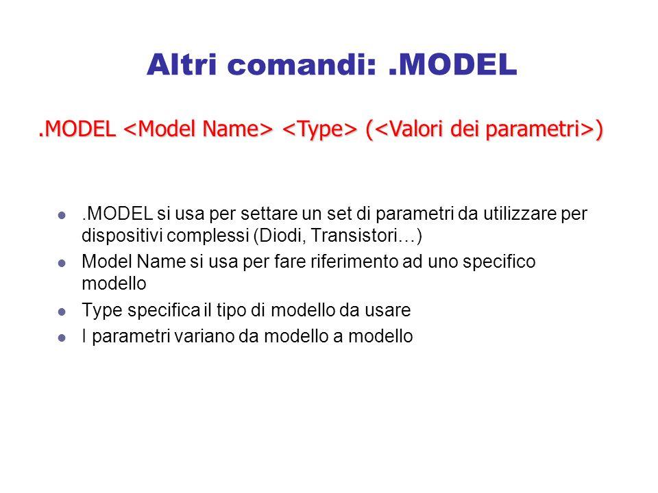 Altri comandi:.MODEL.MODEL si usa per settare un set di parametri da utilizzare per dispositivi complessi (Diodi, Transistori…) Model Name si usa per fare riferimento ad uno specifico modello Type specifica il tipo di modello da usare I parametri variano da modello a modello.MODEL ( )