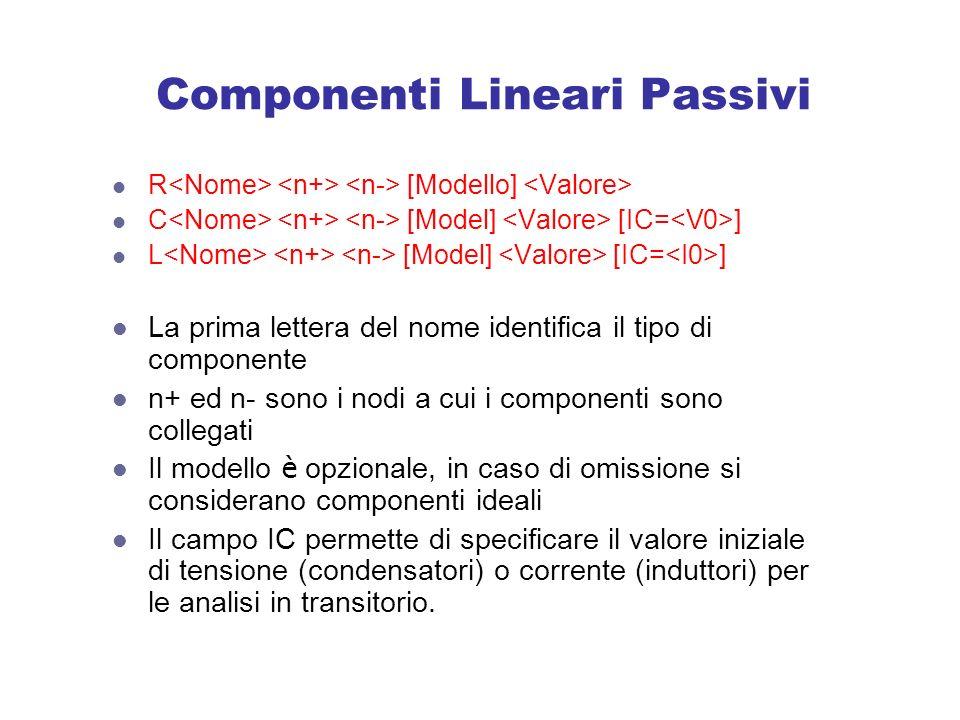 Componenti Lineari Passivi R [Modello] C [Model] [IC= ] L [Model] [IC= ] La prima lettera del nome identifica il tipo di componente n+ ed n- sono i nodi a cui i componenti sono collegati Il modello è opzionale, in caso di omissione si considerano componenti ideali Il campo IC permette di specificare il valore iniziale di tensione (condensatori) o corrente (induttori) per le analisi in transitorio.