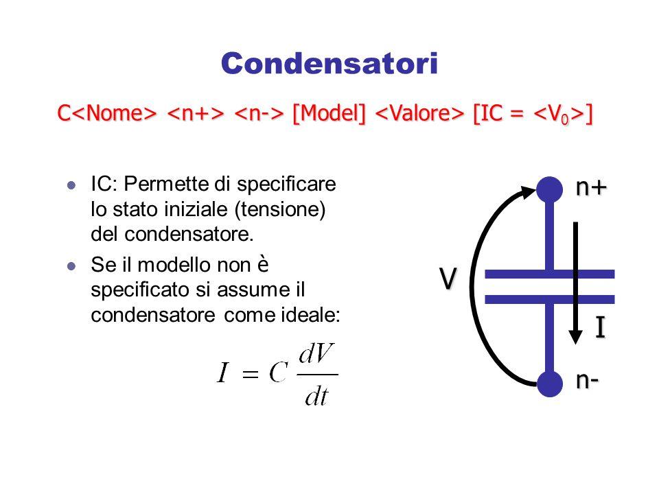 Condensatori IC: Permette di specificare lo stato iniziale (tensione) del condensatore.
