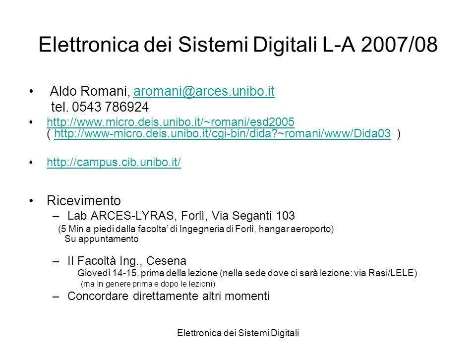 Elettronica dei Sistemi Digitali Elettronica dei Sistemi Digitali L-A 2007/08 Aldo Romani, aromani@arces.unibo.itaromani@arces.unibo.it tel. 0543 7869