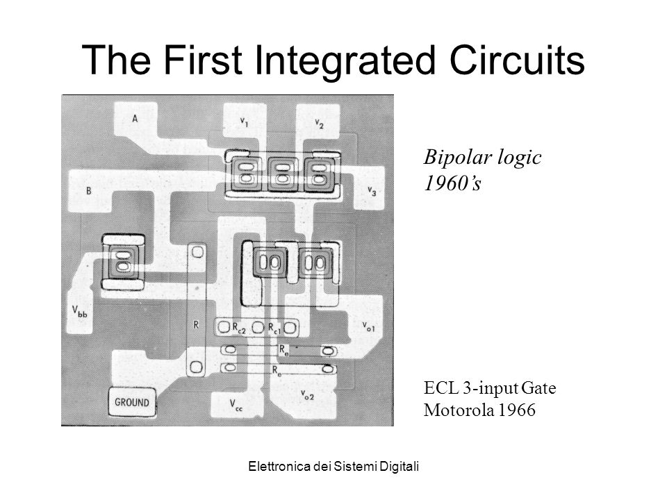 Elettronica dei Sistemi Digitali The First Integrated Circuits Bipolar logic 1960s ECL 3-input Gate Motorola 1966