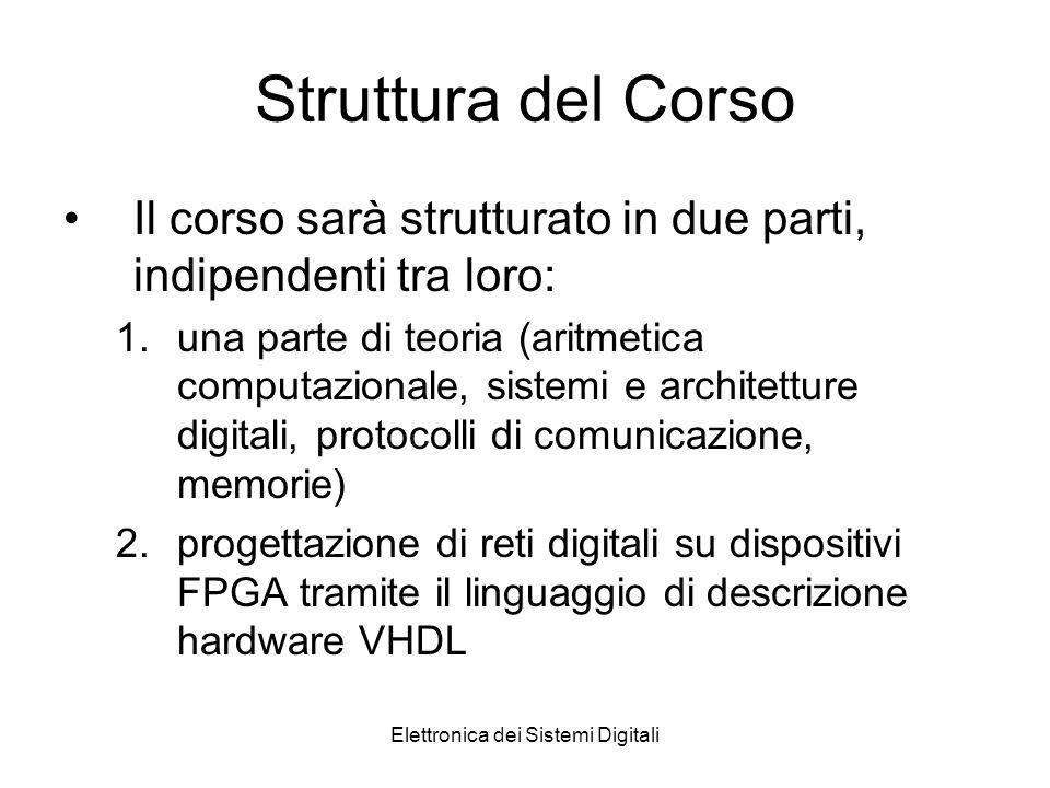 Elettronica dei Sistemi Digitali Struttura del Corso Il corso sarà strutturato in due parti, indipendenti tra loro: 1.una parte di teoria (aritmetica