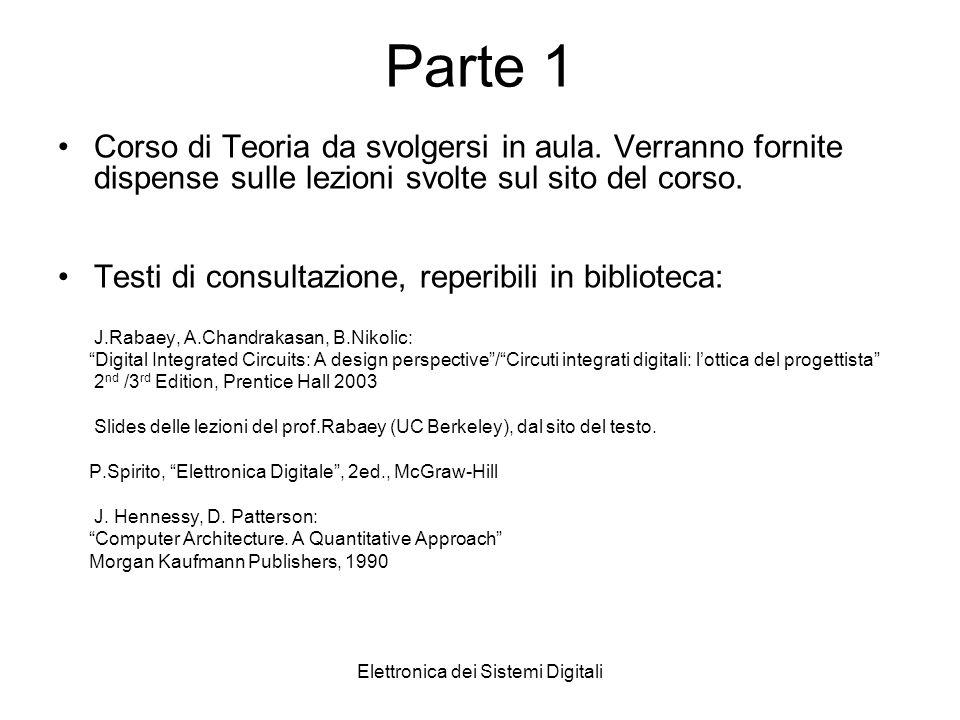 Elettronica dei Sistemi Digitali Parte 1 Corso di Teoria da svolgersi in aula.