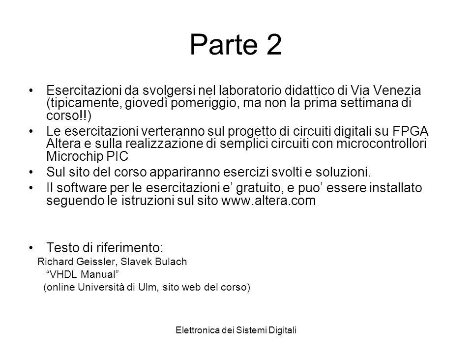 Elettronica dei Sistemi Digitali Parte 2 Esercitazioni da svolgersi nel laboratorio didattico di Via Venezia (tipicamente, giovedì pomeriggio, ma non