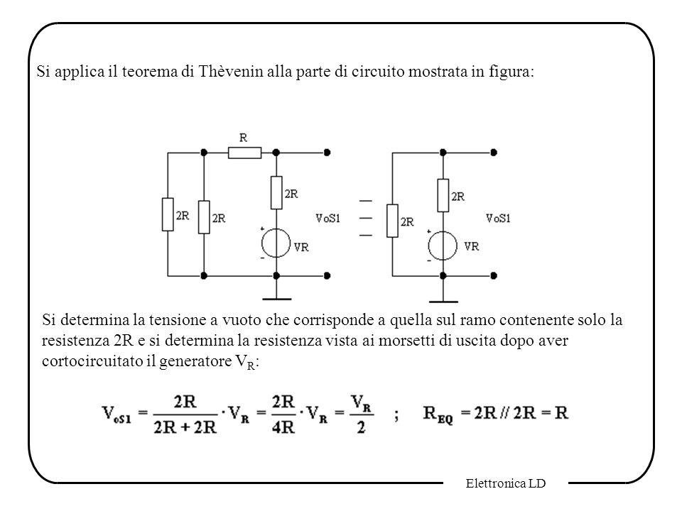 Elettronica LD Si applica il teorema di Thèvenin alla parte di circuito mostrata in figura: Si determina la tensione a vuoto che corrisponde a quella