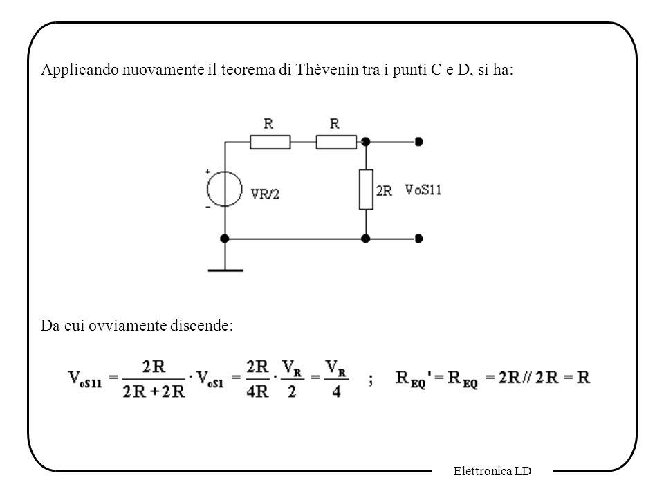 Applicando nuovamente il teorema di Thèvenin tra i punti C e D, si ha: Da cui ovviamente discende: