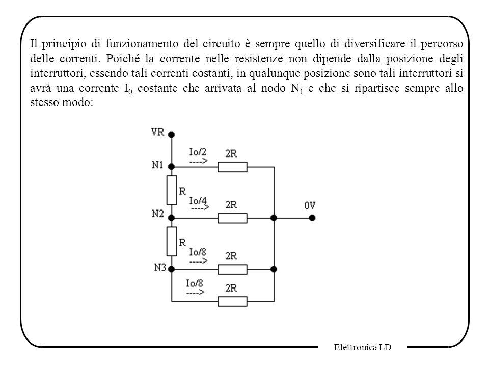 Elettronica LD Il principio di funzionamento del circuito è sempre quello di diversificare il percorso delle correnti. Poiché la corrente nelle resist