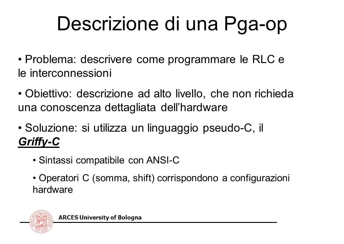 ARCES University of Bologna Descrizione di una Pga-op Problema: descrivere come programmare le RLC e le interconnessioni Obiettivo: descrizione ad alto livello, che non richieda una conoscenza dettagliata dellhardware Soluzione: si utilizza un linguaggio pseudo-C, il Griffy-C Sintassi compatibile con ANSI-C Operatori C (somma, shift) corrispondono a configurazioni hardware
