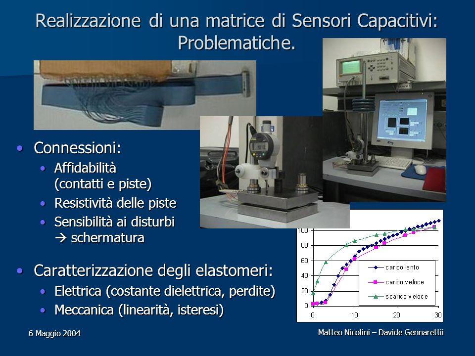 Matteo Nicolini – Davide Gennarettii 6 Maggio 2004 Realizzazione di una matrice di Sensori Capacitivi: Problematiche. Connessioni:Connessioni: Affidab