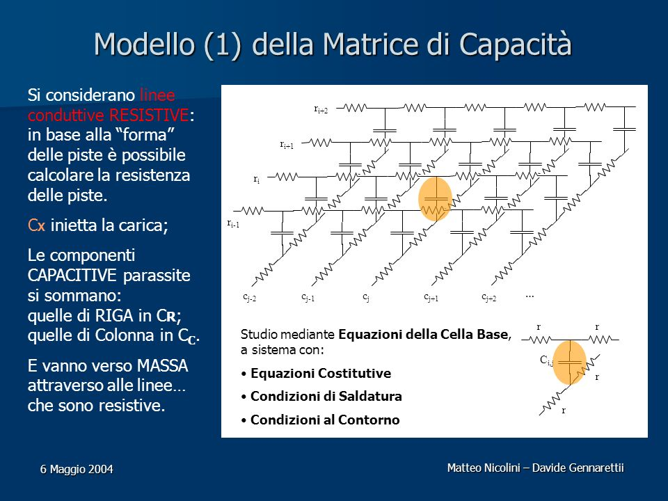 Matteo Nicolini – Davide Gennarettii 6 Maggio 2004 Modello (1) della Matrice di Capacità Si considerano linee conduttive RESISTIVE: in base alla forma