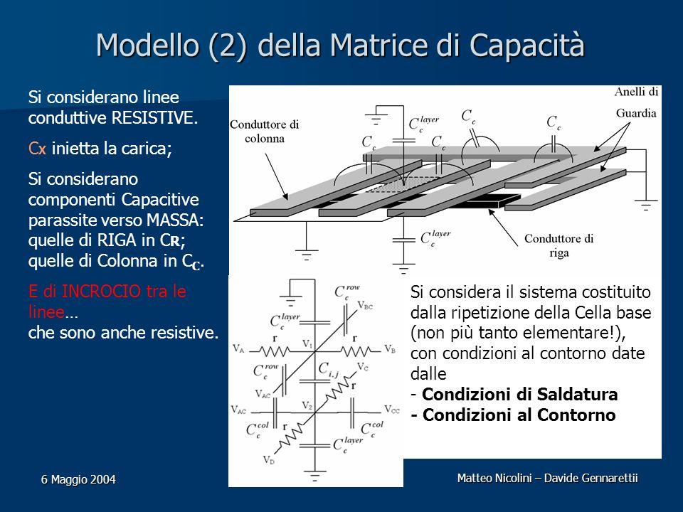 Matteo Nicolini – Davide Gennarettii 6 Maggio 2004 Modello (2) della Matrice di Capacità Si considerano linee conduttive RESISTIVE. C X inietta la car