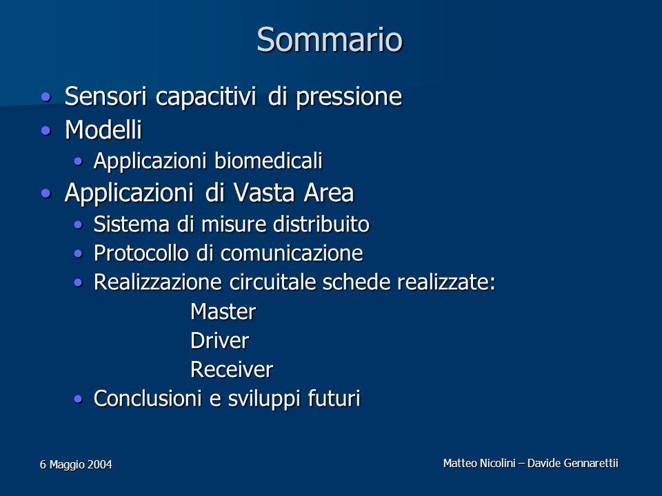 Matteo Nicolini – Davide Gennarettii 6 Maggio 2004 Sommario Sensori capacitivi di pressioneSensori capacitivi di pressione ModelliModelli Applicazioni