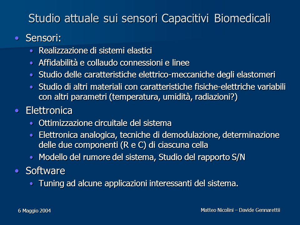 Matteo Nicolini – Davide Gennarettii 6 Maggio 2004 Studio attuale sui sensori Capacitivi Biomedicali Sensori:Sensori: Realizzazione di sistemi elastic