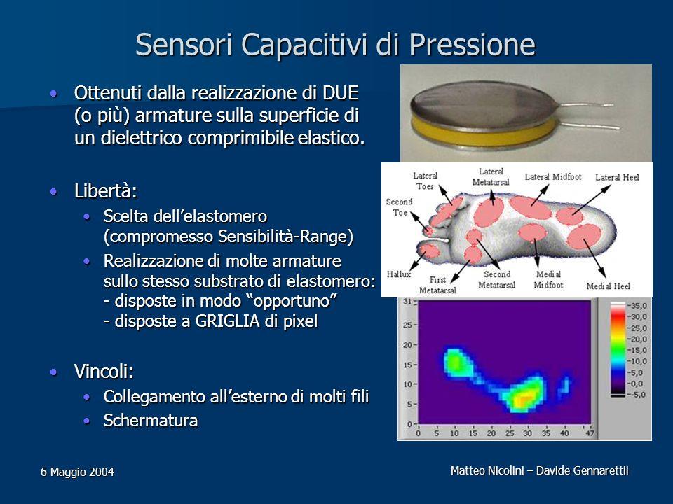 Matteo Nicolini – Davide Gennarettii 6 Maggio 2004 Sensori Capacitivi di Pressione Ottenuti dalla realizzazione di DUE (o più) armature sulla superfic