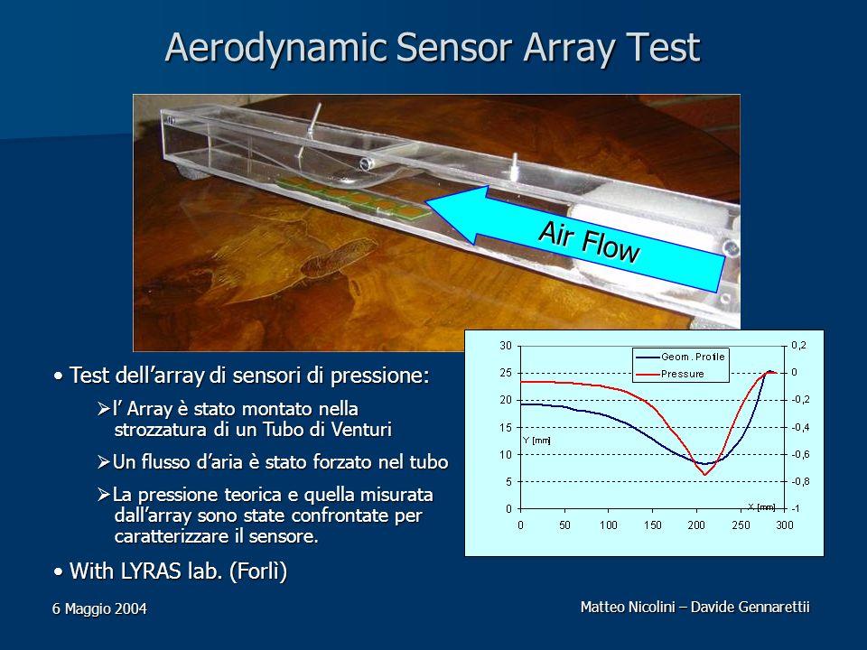 Matteo Nicolini – Davide Gennarettii 6 Maggio 2004 Aerodynamic Sensor Array Test Test dellarray di sensori di pressione: Test dellarray di sensori di