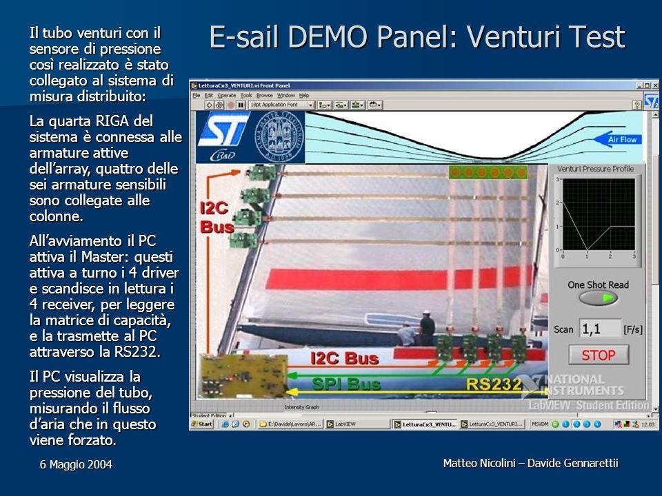 Matteo Nicolini – Davide Gennarettii 6 Maggio 2004 E-sail DEMO Panel: Venturi Test Il tubo venturi con il sensore di pressione così realizzato è stato