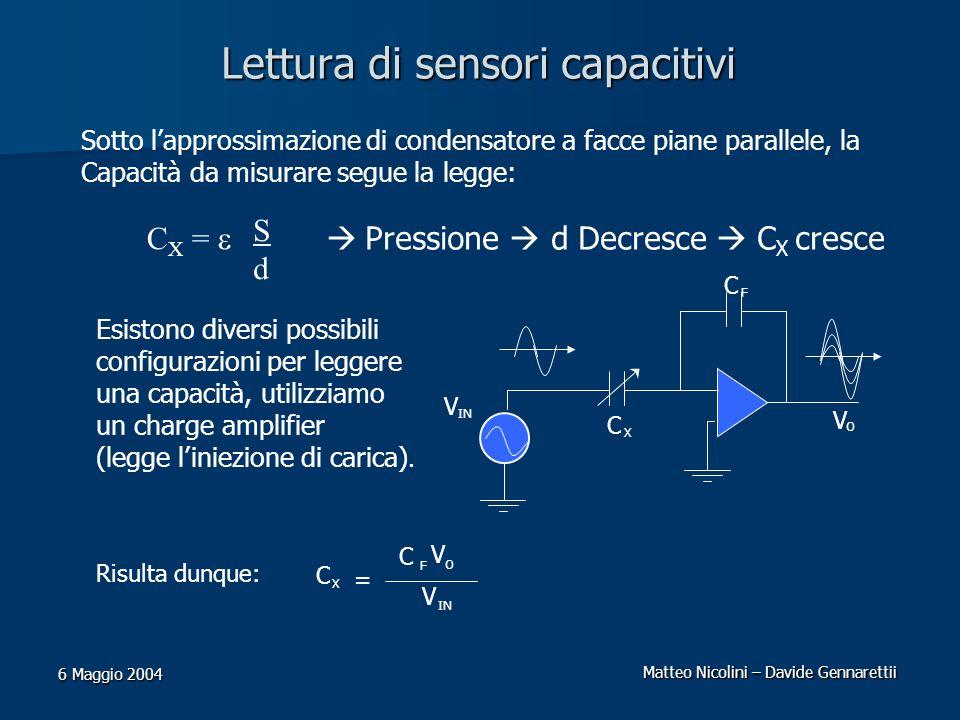 Matteo Nicolini – Davide Gennarettii 6 Maggio 2004 Lettura di sensori capacitivi Sotto lapprossimazione di condensatore a facce piane parallele, la Ca