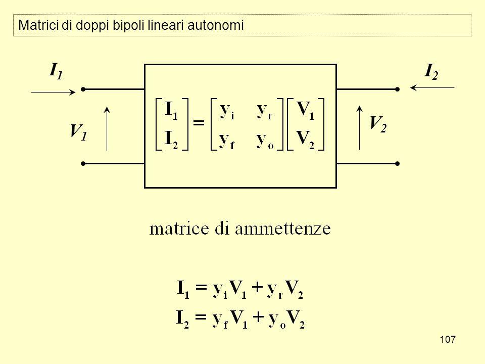 107 Matrici di doppi bipoli lineari autonomi V1V1 I1I1 V2V2 I2I2