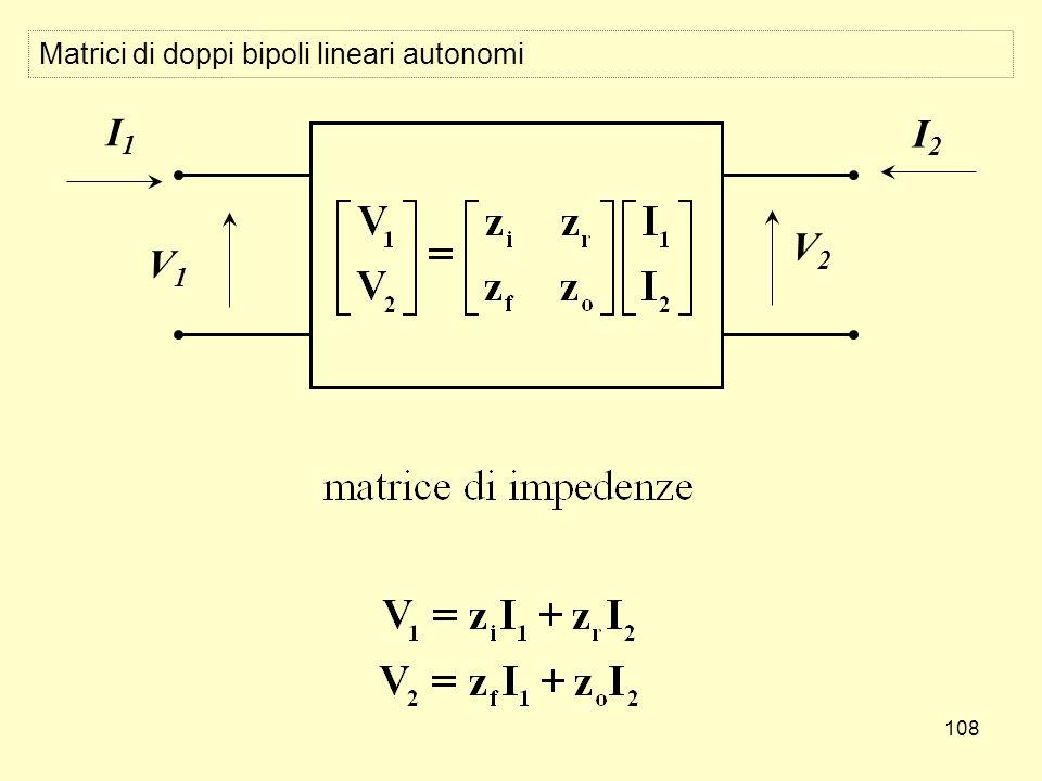 108 Matrici di doppi bipoli lineari autonomi V1V1 I1I1 V2V2 I2I2