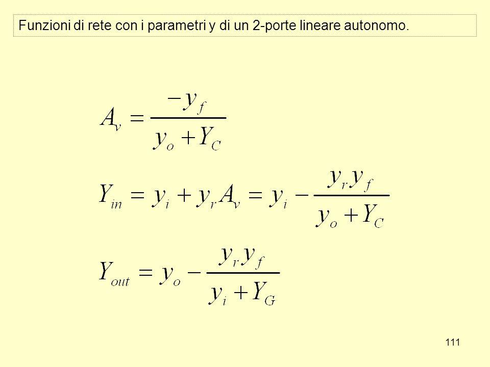 111 Funzioni di rete con i parametri y di un 2-porte lineare autonomo.