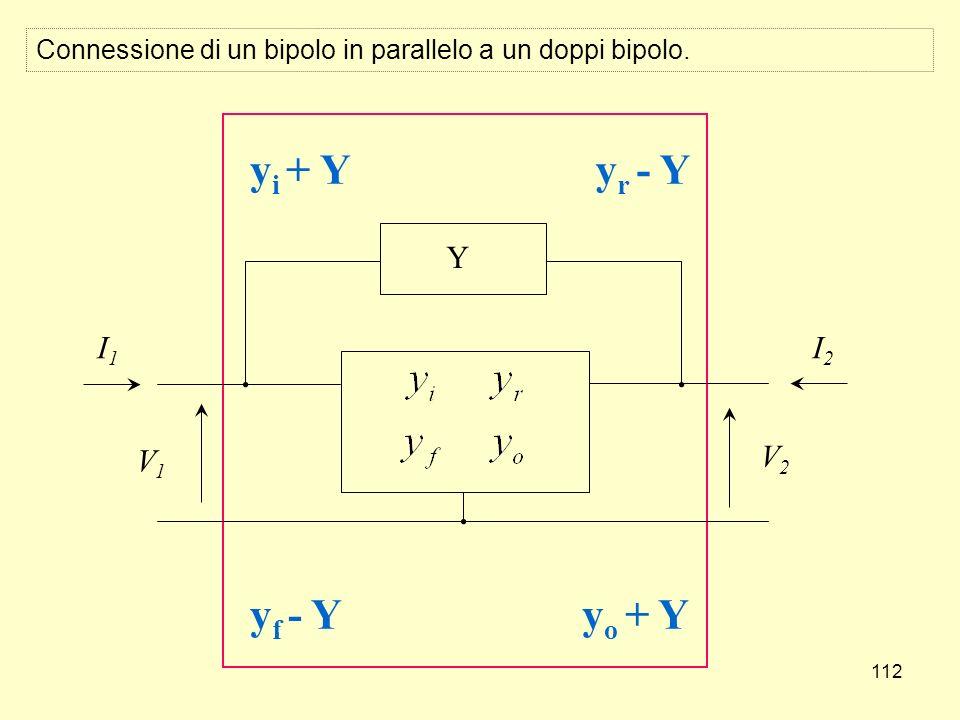 112 Y V1V1 V2V2 I1I1 I2I2 y i + Y y f - Y y r - Y y o + Y Connessione di un bipolo in parallelo a un doppi bipolo.