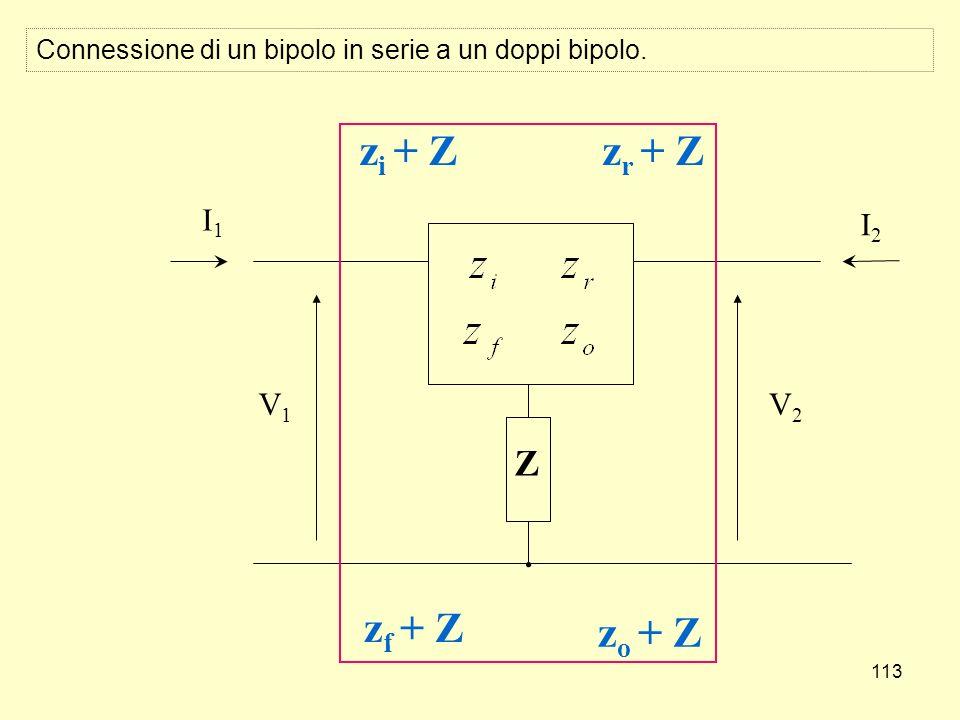 113 V2V2 Z I2I2 V1V1 I1I1 z i + Z z f + Z z r + Z z o + Z Connessione di un bipolo in serie a un doppi bipolo.