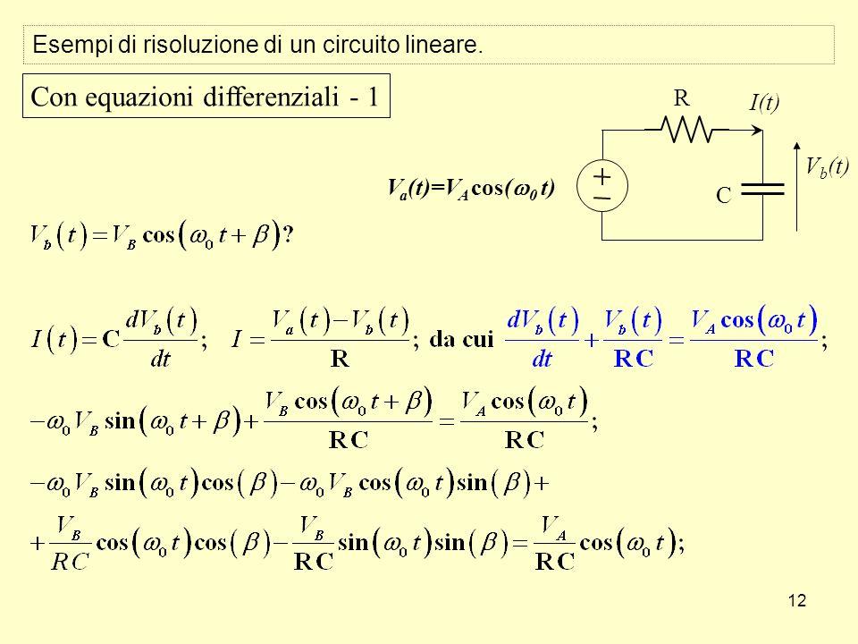 12 Esempi di risoluzione di un circuito lineare. V b (t) C R I(t) V a (t)=V A cos( 0 t) Con equazioni differenziali - 1