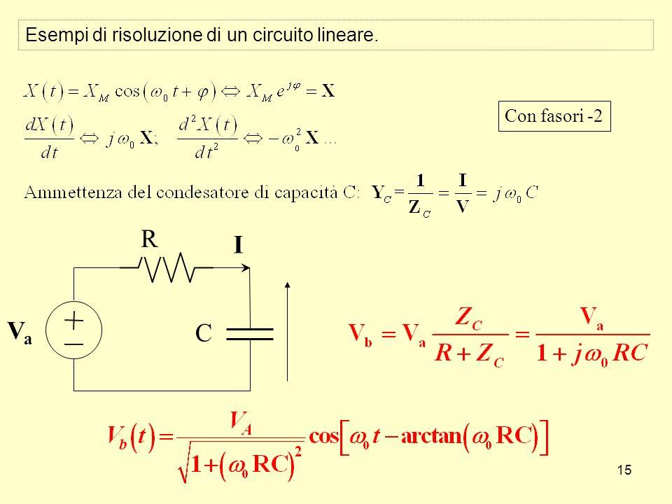 15 C R I VaVa Con fasori -2 Esempi di risoluzione di un circuito lineare.